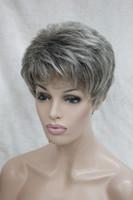 Santé chaude Super mignon gris / gris mélange brune brune Courte et droite cheveux synthétiques perruque pleine femme