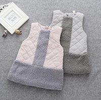 Wholesale 2016 new stylish girls thick waistcoat solid colors warm good quality winter patchwork girls coats F783