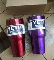 Wholesale Yeti Rambler Tumbler Cup White Black Red Pink Orange Green SS Blue Purple oz Yeti Stainless Steel Mug