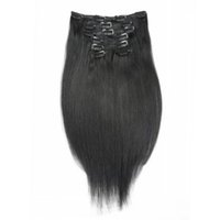 Wholesale 7 g Remy Virgin Brazilian Hair Clip In Extensions B Black Clip In Human Hair Extensions