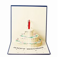 Tarjeta de regalo hecha a mano de la manera Tarjetas de cumpleaños 3D Papel que talla la torta Tarjeta de la Navidad del día de tarjetas del día de San Valentín del feliz cumpleaños WA1706