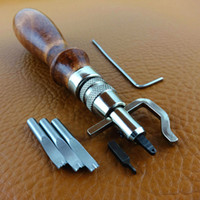 Wholesale 5 in Pro Leathercraft Leather Groover Adjustable Width mm Leather Edge Stitching Groover Crease Leather Tool Set