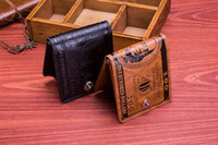 Wholesale 2015 fashion Zn buckle top purses wallet men s design Genuine Leather Coin pocket cards holders wallets for men