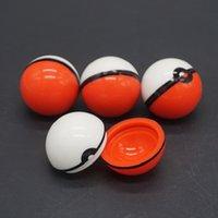 achat en gros de stockage des aliments en verre gros-Vente en gros Non-Stick Pokeball Container Wax Jars Alimentation Grade Silicone Gel Ball Pattern Boîte de rangement pour Vaporisateur à base de plantes Bong Accessoires