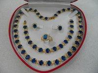 al por mayor conjuntos de joyas de oro amarillo-Detalles sobre el regalo favorito de las mujeres de joyería de zafiro oro amarillo 18k conjunto de collar