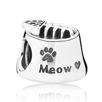 Auténtico 925 Sterling Silver Bead encanto de la vendimia Cat Bowl Meow con cuentas de cristal Pandora Brazalete Pulsera Brazalete DIY Joyería HKA3334