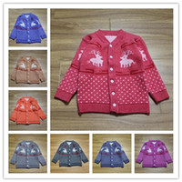 Wholesale 10 Color Deer Christmas Cardigan Sweater Unisex Baby Button up Cotton Coat Best Christmas Gifts For Kids