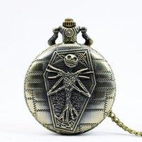 antique skull pocket watch - PB377 Vine Tim Burtons The Nightmare Before Christmas Pocket Watch Quartz Pocket Watch Skull Gifts