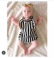 Wholesale 2017 ins Boys Girls Baby Rompers Summer Sleeveless Babies Onesies Striped Newborn Bodysuit Clothing Cute Toddler Romper Clothes