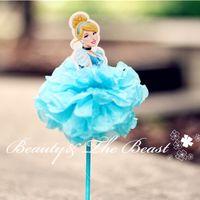 Venta al por mayor-7,2 '' princesa Cinderella Aurora Ariel Cupcake Toppers cumpleaños fiesta decoraciones Kids baby shower partido supplies12pcs
