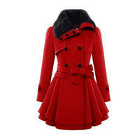belted coat with fur collar - 2016 Winter New Fashion Long Double Breasted Women Slim Faux Fur Collar Coat With Belt Woolen Coat Snow Warm Coat Parka