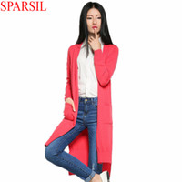 Wholesale Sparsil Womens Cashmere Blend Sweater Full Sleeve Solid Color Hem Split Collect Waist Long Style Slim Cardigans With Pockets