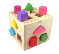 Wholesale New Arrive Eco friendly Piece Educational Wood Baby Toys Children Multifunction Early Learning Wooden Cube Color Learn