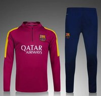 Wholesale 2015 Best quality barcelona soccer tracksuit chandal football Tracksuit training suit skinny pants Sportsw