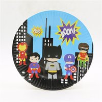 Wholesale paper superhero cartoon decoration dish plate baby kid birthday party supplies festive weddingValentine tray Tableware