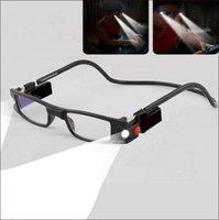 achat en gros de lunettes de mode unisexe-Lunettes de lecture presbyopic Readers magnet Connect Ajustable NOUVEAU + 1.0 ~ + 4.0 Accessoires de mode pour adultes Lentille unisexe pour PC avec 2 LED