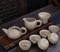 Wholesale Coarse ceramic tea set tea cup teapot kung fu tea fair mug Special gifts customized high end business restoring ancient ways