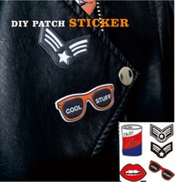 badges pack - PA09 Pc Pack Fashion Patch Sticker with Sunglass Badge and Mouth pattern Patch for T shirt Bag decoration DIY Sticker Accessories