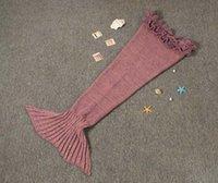 Wholesale Blanket Kintted Mermaid Blankets cm Sleeping bags Handmade Crochet Mermaid Tail Blankets Cartoon Blankets Mermaid Sleeping Bags JF