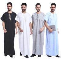 Wholesale 2017 Muslim Islamic Clothing for men Arabia Men Thobe Thoub Abaya Robe Juba Qamis Daffah Dishdasha Islamic Arab Kaftan