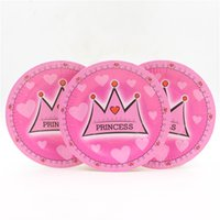 Wholesale inches princess crown printed paper plate paper cake s dishs for girl s st happy birthday party decoration
