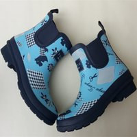 Wholesale Ms printed short tube of the stylish waterproof boots natural rubber non slip comfortable rain boots