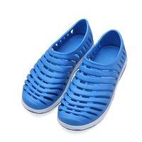 beach bathroom lighting - Hot Light weight Hollow out Slip On Summer Beach Mens Slippers Sandals New Garden Flat Men Shoes Breathable Bathroom Sandals