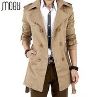 Wholesale MOGU Trench Coat Men Autumn Spring Double Breasted Men Outerwear Casual Coat Men s Jackets Windbreaker Mens Trench Coat
