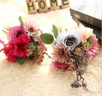 Wholesale Artificial pink fushia rose and gerbera bridal bouquets silk flowers for wedding party centerpieces home holiday decoration