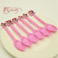 Wholesale Minnie Mouse Party Favors Plastic Knives Forks Spoons for Kids Birthday Party Decoration Baby Shower Decoration festa minnie