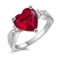 Wholesale Heart Of Ocean ct Created Red Ruby Love Forever Halo Promise Ring Sterling Silver Wedding Jewelry For Women
