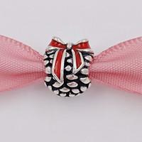 Regalo de Navidad 925 cuentas de plata de ley Cono de pino rojo se adapta a Europa Pandora joyas de estilo collar de pulseras 791237EN39