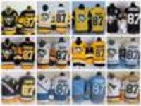 Hommes Pittsburgh Penguins Jerseys de hockey # 87 Sidney Crosby 2017 Stade série Jaune Jersey remorquage CCM Sidney Crosby cousu C Patch