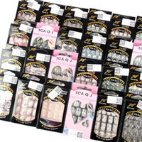 Wholesale Fashion Acrylic False Nail Full French Sticker Nail Tips Manicure Colors WC23