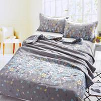 Wholesale set Pink Cat Animal Printed Bedding Set Summer Comforter Bedding Sets Filling Quilt Plaid Pillowcase Q003