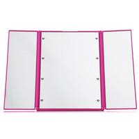 adjustable toilet frame - Three Folding Table LED Lamp Luminous Makeup Mirror Portable Toilet Cosmetic Mirror Adjustable Tabletop Countertop Light Mirror