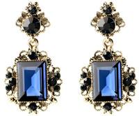 Wholesale fashion jewelry ocean blue crystal aulic vintage earrings rhinestones for women alloy rhinestone princess jewelry