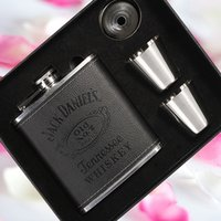 Wholesale oz Luxury Stainless Steel Leather Hip Flask Set Whiskey Flask Drink Mug with Box PU Leather Flagon With Funnel Cups