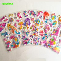 Wholesale 12 sheets New Arrival small Cartoon Mermaid Dress up school Puffy Stickers Kids Girls Classic Toys