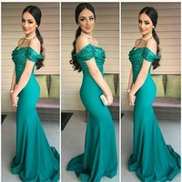 Wholesale NEW Mermaid Evening Dresses Sexy Dark Green Off the Shoulder Sequins Top Evening Gowns Sweep Train