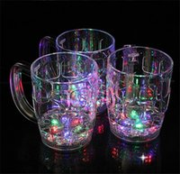 beer glass plastic - Super Large Beer Cup Creative LED Light Colorful Environmental Protection Plastic Material Water Sensing Luminous Cups jc
