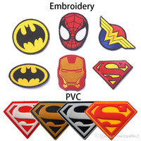Sewing Tools Utility Fabric Linen 50 PCS Major League Iron Man Superman Spiderman Tactical Patch Embroidered PVC Hook&Loop Badge Army 3D Military Badge Wholesale free ship