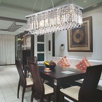 Wholesale Modern Rectangular Crystal Chandeliers Pendant Light Dining Room Length cm LED Ceiling Lamp with Lights AC100 to V CE FCC