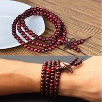 Cheap Wholesale-1 Piece 6mm*108 Sandalwood Buddhist Buddha Meditation Prayer Bead Mala Bracelet Necklace