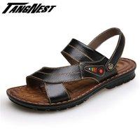 Vente en gros-TANGNEST Vente d'été Hommes Sandales Soft Sole Chaussons Sandales Solid Casual PU Cuir Plage Flip Flop Taille 38-44 XML166