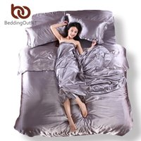 Wholesale Silk Bedding Linen Satin Jacquard Silk Fitted Set Silver Grey Solid Silk Duvet Cover Sets Bedsheet Pillowcase