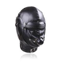 adult face masks - BDSM Bondage Leather Hood for Adult Play Games Full Masks Fetish Face Locking Blindfold for Sex
