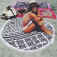Wholesale Spot microfiber printing round beach towel Europe and the United States tassel beach towel reactive printing towels