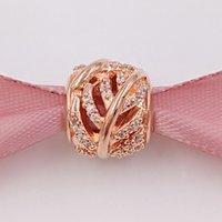 925 pluma de plata de los granos de plata pavimentan el encanto del grano del oro de Rose del corazón cabe las pulseras europeas 781186cz de la joyería del estilo de Pandora Rose platearon