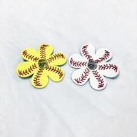 al por mayor accesorios para el cabello de flores de color amarillo-Béisbol Softball Pelo Clip Amarillo Blanco Rhinestone Joyería De Béisbol Equipo Deportivo Flor Clips Arco Accesorios De Pelo DOM106486